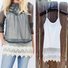 Dress Lace Spaghetti Sleeveless Tank Top Knitted Strap Vest Shirt Blouse