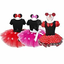 US XMAS Baby Girls Minnie Mouse Ballet Leotard Dress Tutu Skirt Headband Costume