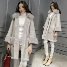 New Womens Faux Sheep Leather Fox Fur Collar Trench Jacket Warm Parka Overcoat