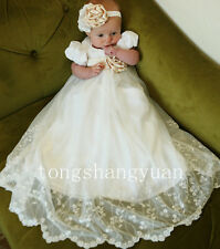 Baby Baptism Gowns Lace Applique Infant Christening Dresses 2017 Headband Custom