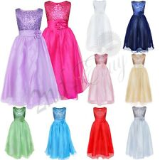 Girl Kid Sequin Flower Princess Formal Party Wedding Bridesmaid Tulle Gown Dress