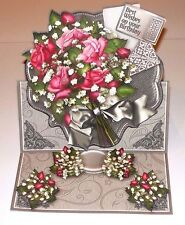 Handmade Greeting Card 3D Easel All Occasion With Pink Roses