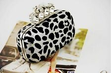 Womens Skull Head Ring Gold Leopard Clutch Bag Purse  Evening Bags