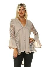 Boutique Boho Peasant Top Blouse Bell Sleeves Beige Lace Detail High Low Hem