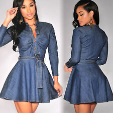 Fashion Women Party Casual Long Sleeve Button Up Denim Jeans Belted Skater Dress