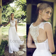 Lace Applique Wedding Dresses For Bride White Ivory Bridal Gowns Size 4 6 8 10 +