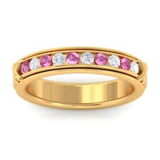 Pink Sapphire GH SI Fine Diamonds Half Eternity Womens Band 10K Yellow Gold