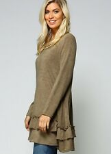 Ruffled Tunic Sweater New S M L Olive Green Long Sleeve Casual Comfy