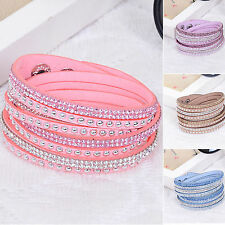 SUP Fashion Leather Wrap Wristband Cuff Punk Crystal Rhinestone Bracelet Bangle