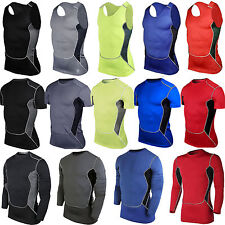 Mens Under Base Layer Athletic Apparel Compression Top Tight Skin Workout Shirts