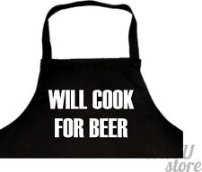 Will Cook for Beer APRON GIFT IDEA Birthday For Dad Him Fathers Day
