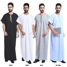 Saudi Thobe Men Galabeya Thoub Abaya Robe Dishdasha Arabic Kaftan Muslim Dress