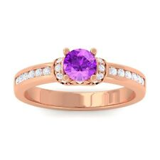Purple Amethyst FG SI Channel Diamonds Engagement Ring Women 10K Rose Gold