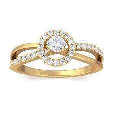 0.27ct GH SI Natural Round Diamond Engagement Womens Ring 18K Yellow Gold