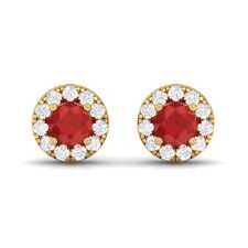 Red Ruby FG SI Diamond Gemstone Womens Halo Stud Earring 18K Yellow Gold