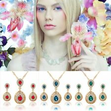 Chic Water Drop Jewelry Crystal Wedding Bridal Necklace Earrings Set