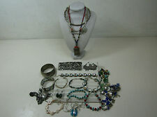 Silver Tone Costume Jewelry Lot Turquoise Color Stone Necklaces Bracelets AS IS