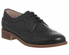 Womens Office Freddy Lace Up Brogues BLACK LEATHER Flats