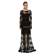 Womens Long Sexy Mesh Evening Party Ball Prom Gown Backless Maxi Cocktail Dress