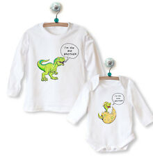Big Sister Brother Little Sister Brother LONG BABYGROW+TOP Dinosaurs