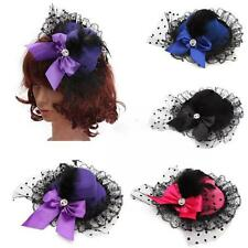 Lady Fascinator Bowknot Party Hat Hair Clip Lace Feather