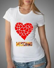 White Sexy Women T-Shirt Top Tee Moschino Big Heart Love