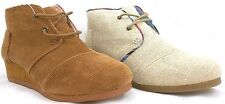 Toms Desert Wedge For Youth In Camel Corduroy And Natural Burlap Size 3 New