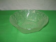 """Vintage Ornate Clear Glass Dish Floral Embossed 7.5"""" Candy Bowl"""
