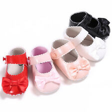 Baby Girls Bowknot Crib Shoes Kid Toddler PU Leather Soft Sole PreWalkers 0-18M