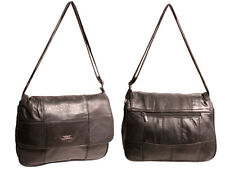 LADIES TOP REAL SOFT LEATHER LORENZ SHOULDER BAG TWIN MAIN ZIPPED COMPARTMENTS