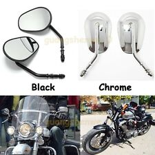 MOTORCYCLE BLACK/CHROME TAPERED SHORT STEM REARVIEW MIRRORS FOR HARLEY SPORTSTER