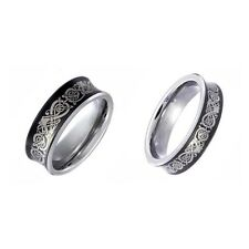 Black Tungsten His & Hers Engagement Wedding Band Ring Sets Celtic Dragon BA