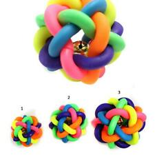 Dog Cat Toy Rainbow Rubber Round Ball Sound Bell Puppy Pet Toy 3 Sizes
