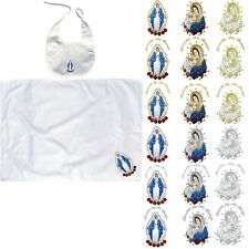 Baby Baptism White Swaddle Blankets & Bib Set Embroidery Holy Virgin Mary & Pope