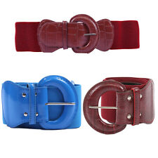 TheMogan Croc-embossed Faux Leather Buckle Stretch Cinch High Waist Elastic Belt
