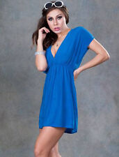 Kaftan V Neck Beach Cover Up Blue Bikini Summer Dress Shirt Top One Size NEW