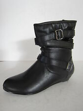 LADIES SPOT ON BLACK ANKLE BOOTS WITH WEDGE HEEL & BUCKLE STRAPS STYLE: F50068