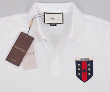 Gucci Men Polo T-Shirt, White Polo Shirt With Web Crest Size - S, M, L, XL