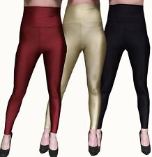 WOMENS BLACK RED GOLD HIGH WAISTED WET LOOK SHINY FITTED ANKLE LEGGINGS PANTS