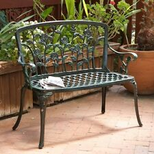 Outdoor Patio Bench Cast Aluminum Garden Furniture Home Antique Seat All Weather