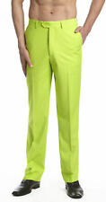 CONCITOR Men's Dress Pants Trousers Flat Front Slacks Solid LIME GREEN Color