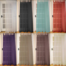 Pair Of New Tab Top (2 Panels) Woven Voile Net Curtain Panels With FREE UK POST