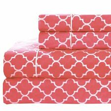 Coral & White Printed Meridian Sheets, 250TC 100% Cotton Percale Woven Sheet Set