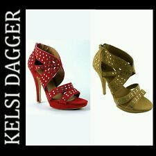 $139 Kelsi Dagger Red Tan Suede Studded Heels Strappy Sandals Shoes ~ 9.5M M3020
