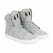 Supra Skytop II Mens Grey Suede High Top Lace Up Trainers Shoes