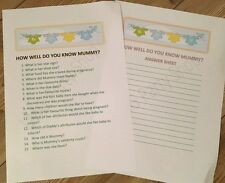 Baby Shower Game Who knows mummy best?  keepsake party game unisex