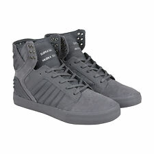 Supra Skytop Evo Mens Grey Suede High Top Lace Up Trainers Shoes