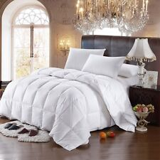 All Season Striped White Goose Down Comforter, 600 Fill Power Medium Warmth