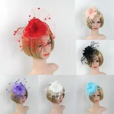 Women Flower Veil Fascinator Wedding Church Kentucky Cocktail Feather Headband