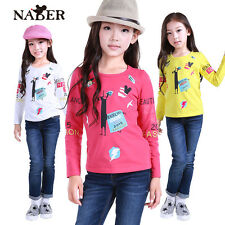 NABER Kids Girls Clothes Funny Animal Cartoon Long Sleeve Shirts Tops Size 3-10Y